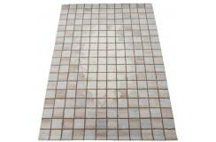Beżowy dywan do salonu 100% wełniany tafting 160x230cm patchwork