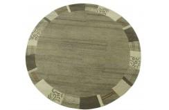100% welniany ręcznie tkany dywan Nepal Premium szary beż 150x150cm okrągły