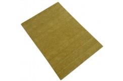 Gładki nowoczesny dywan Gabbeh Handloom Lori 100% wełna złoto-zielony 170x240cm
