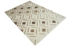 Piękny beżowo brązowy dywan do salonu 100% wełniany tafting 160x230cm