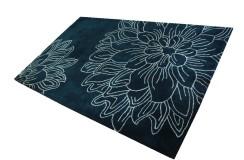 Wełniany designerski dywan 2cm gruby 160x230cm petrol Indie