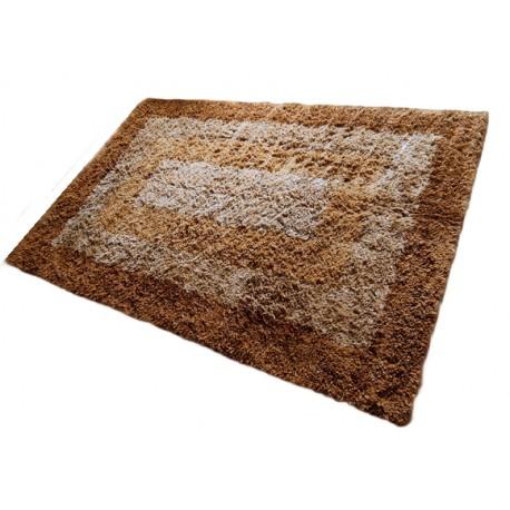 Gruby ciepły dywan shaggy 100% wełna 150x225cm ceglasty beżowy brązowy