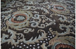 Dywan Vintage Look wełna i jedwab 240x340cm z Indii brązowy gruby nowoczesny wzór 3D