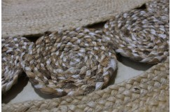Sznurkowy pąsko zaplatany ręcznie tkany dwustronny kilim - dywan okrągły 100% juta 150x150cm Brinker Carpets Braided