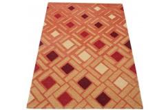 Geometryczny pomarańczowy dywan do salonu 100% wełniany tafting 160x230cm