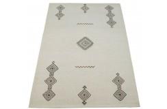 Geometryczny beżowy dywan do salonu 100% wełniany tafting 160x230cm wzór berber