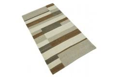 100% welniany ręcznie tkany dywan Nepal Premium beżowy 90x160cm patchwork