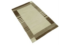 100% welniany ręcznie tkany dywan Nepal Premium beżowy brązowy 90x160cm kalsyczny wzór