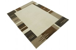 100% welniany ręcznie tkany dywan Nepal Premium beżowy brązowy 140X200cm kalsyczny wzór