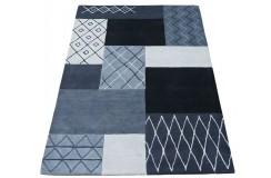 Geometryczny niebieski dywan do salonu 100% wełniany tafting 160x230cm patchwork