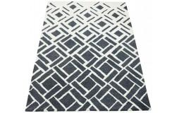 Geometryczny beżowo-grafitowy dywan do salonu 100% wełniany tafting 160x230cm