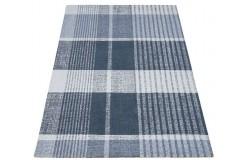 Geometryczny niebiesko beżowy dywan do salonu 100% wełniany tafting 160x230cm