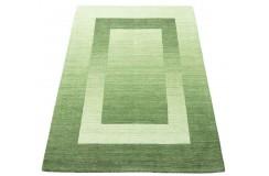 Geometryczny zielony dywan do salonu 100% wełniany tafting 160x230cm wzór gabbeh