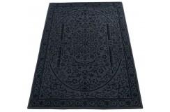 Grafitowo-szary dywan w stylu kwiaty vintage do salonu 100% wełniany tafting 160x230cm