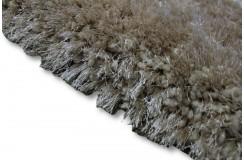 Błyszczący gruby dywan shaggy beżowy 150x220 poliester