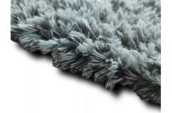 Gruby ciepły dywan shaggy 100% wełna 170x240cm szary/niebieski Indie w pasy
