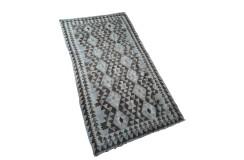 Stonowany szary dywan kilim 110x200 z Afganistanu Chobi 100% wełna vintage design nomadyczny
