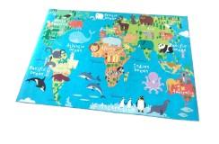 Miękki żakardowy płasko tkany dywan dla dzieci Obsession Torino Kids 233 World Map 120x170cm
