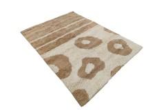 Gruby ciepły dywan shaggy 100% wełna 170x240cm beżowo brązowy Indie w pasy