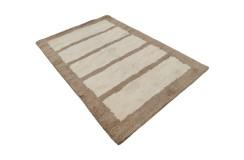 Gruby ciepły dywan shaggy 100% wełna 170x240cm beżowo brązowy Indie nowoczesny