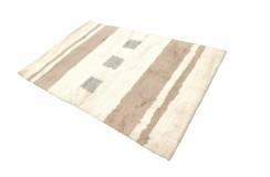 Gruby ciepły dywan shaggy 100% wełna ok 160x230cm beżowo brązowy Indie nowoczesny