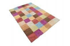 Gruby ciepły dywan shaggy 100% wełna ok 160x230cm kolorowy Indie nowoczesny