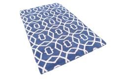 100% welniany ręcznie tkany dywan Nepal 160x240cm wzór Art Deco niebieski