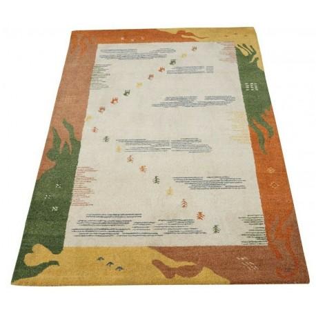 Nowoczesny kolorowy z beżowym tłem dywan do salonu 100% wełniany tafting 160x230cm