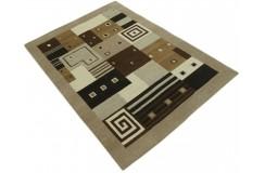 100% welniany ręcznie tkany dywan Nepal Premium brązowy beżowy 140x200cm patchwork