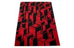 Designerski nowoczesny dywan wełniany CITY 3D 120x180cm Indie 2cm gruby czerwony