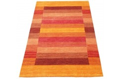 Dywan w pasy pomarańczowy czerwony 100% wełna Gabbeh tafting 140x200cm Indie