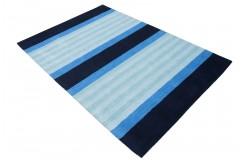Niebieski dywan w pasy do salonu 100% wełniany tafting 160x230cm