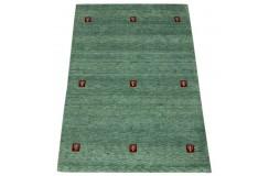 Zielony delikatnie zdobiony dywan gabbeh 170x240cm wełna argentyńska ręcznie tkany 100% wełna