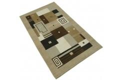 100% welniany ręcznie tkany dywan Nepal Premium beżowy brązowy 90x160cm patchwork
