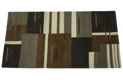 100% welniany ręcznie tkany dywan Nepal Premium naturalny 70x140cm geometryczny
