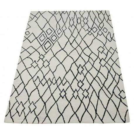 Piękny beżowo-czarny dywan do salonu 100% wełniany tafting 160x230cm Indie