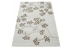 Piękny beżowo-brązowy dywan do salonu 100% wełniany tafting 160x230cm kwiaty