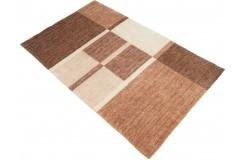 Dywan Gabbeh Handloom Loribaft wełna beżowy brązowy geometryczny 120x180cm 100% wełna