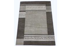 Szary ekskluzywny dywan Gabbeh Loribaft Indie 170x240cm 100% wełniany