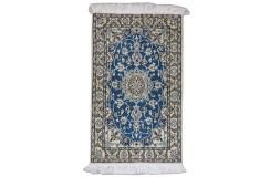 Nain 6la Habibian gęsto ręcznie tkany dywan z Iranu wełna + jedwab ok 60x90cm niebieski majestatyczny