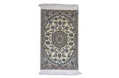 Nain 9la gęsto ręcznie tkany dywan z Iranu wełna + jedwab ok 60x90cm beżowy majestatyczny