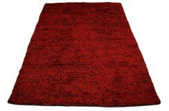 Niepowtarzalny tani ręcznie tkany dywan shaggy 165x235cm wełna filcowana + poliester Indie czerwony