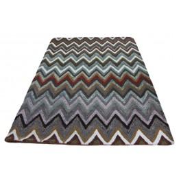 Multikolorowy gruby ręcznie tkany dywan indyjski 100% wełny