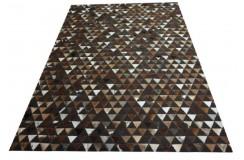 Cudowny dywan Patchwork z brązowej skóry bydlęcej 160x230 Ava Handfab
