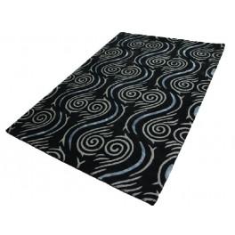 Czarny z aplikacjami z lurexu i jedwabiu Piękny nowoczesny dywan 160x230