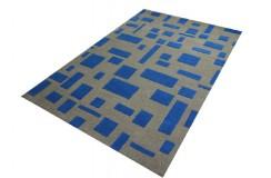 Ultranowoczesny szaro niebieski dywan indyjski WEŁNA