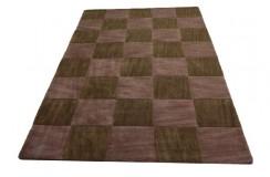 Brązowy z wytłaczanymi kwadratami ręcznie tkany dywan wełniany 160x230