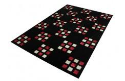 Czarny dywan z wplecioną skórą bydlęcą 160x230