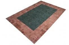Zamszowy naturalny bordowo zielony dywan Ava Handfab 160x230