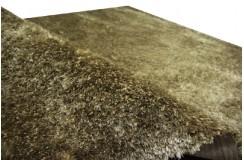 Błyszczący gruby dywan shaggy zielono brązowy 160x230